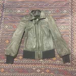 Mackage grey leather jacket size medium